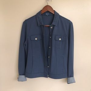 Kelly Clinton Jackets & Coats - NWOT  Blue Jacket with collar and cuffs combined!